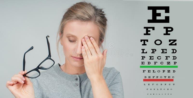 Donna in vetri Grafico dell'esame di visione di vista della prova dell'occhio immagini stock