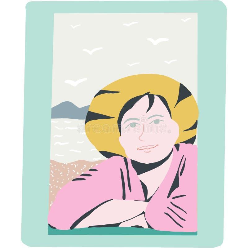 Donna vicino alla finestra dal mare illustrazione di stock