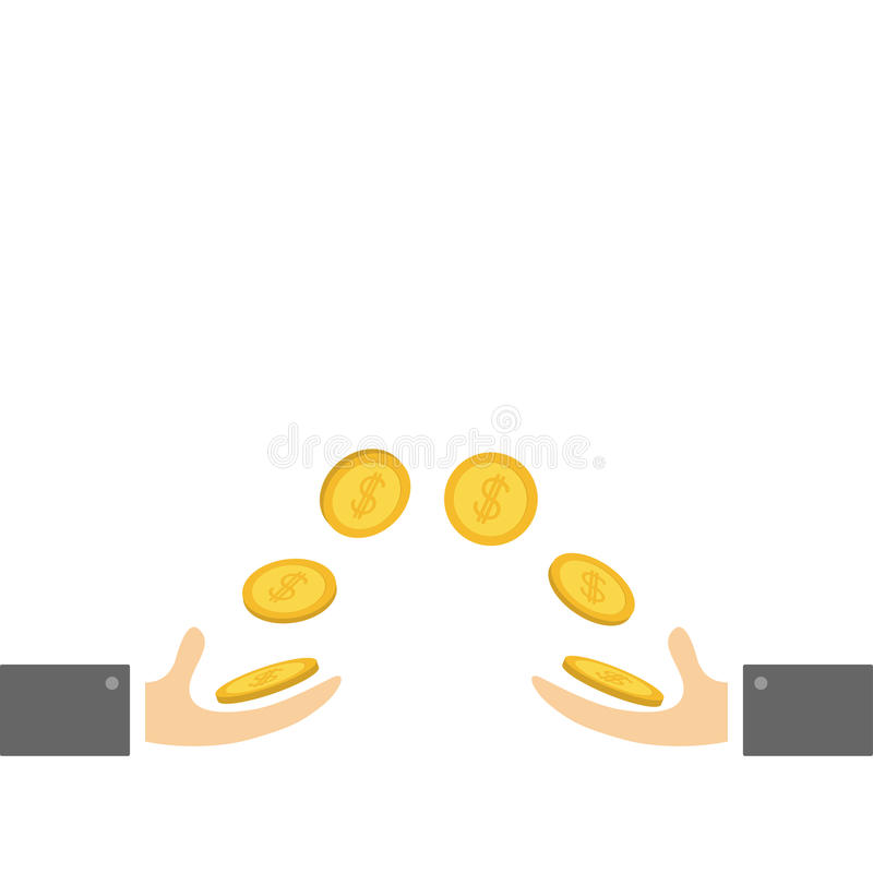 Donnant et prenant des mains avec piloter le symbole dollar d'or d'argent de pièce de monnaie Concept de coup de main Style plat  illustration libre de droits