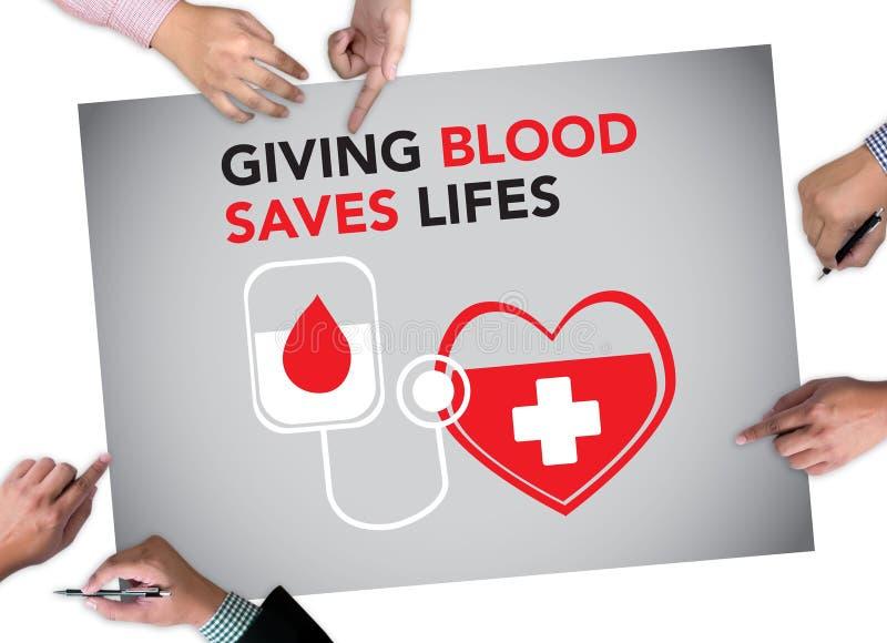 DONNANT le SANG ENREGISTRE le don du sang de LIFES donnent la vie photographie stock