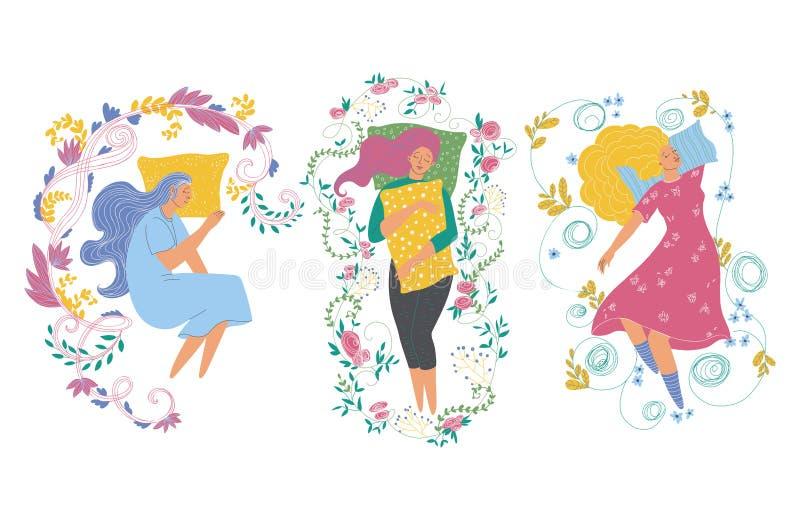 Donne addormentate con i cuscini e gli elementi decorativi floreali Insieme delle ragazze di sogno Isolato su priorità bassa bian illustrazione vettoriale