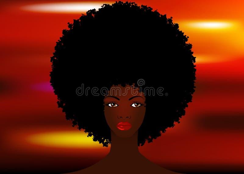 Donne africane del ritratto, fronte femminile della pelle scura con il bello afro tradizionale dei capelli neri, fondo variopinto illustrazione di stock