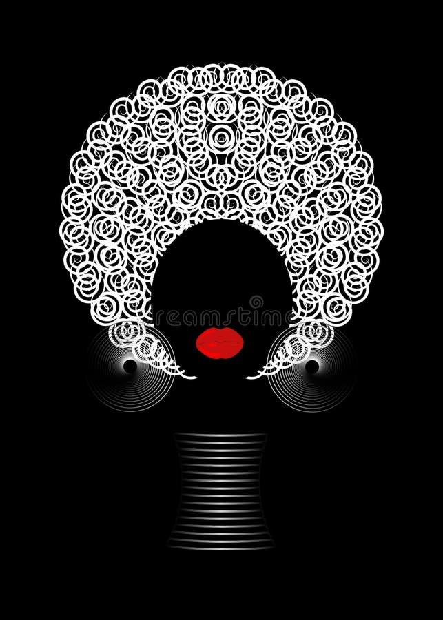 Donne africane del ritratto, fronte femminile della pelle scura con l'afro dei capelli e gioielli tradizionali etnici su fondo ne royalty illustrazione gratis