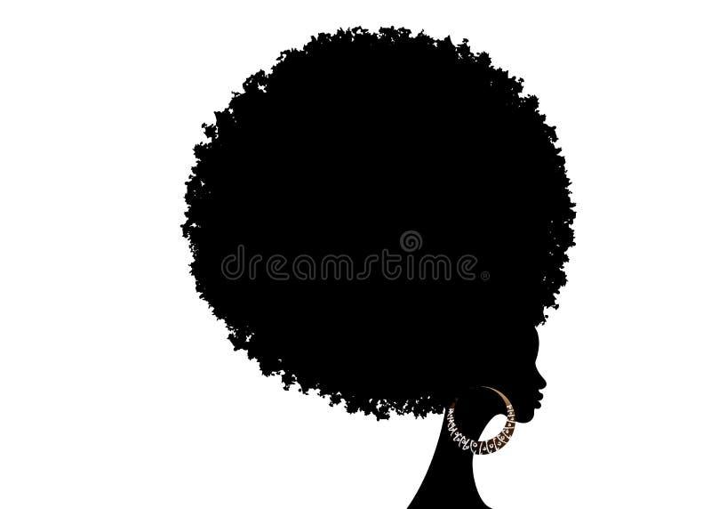 Donne africane del ritratto, fronte femminile della pelle scura con l'afro dei capelli e riccio tradizionale etnico, isolato, con illustrazione vettoriale