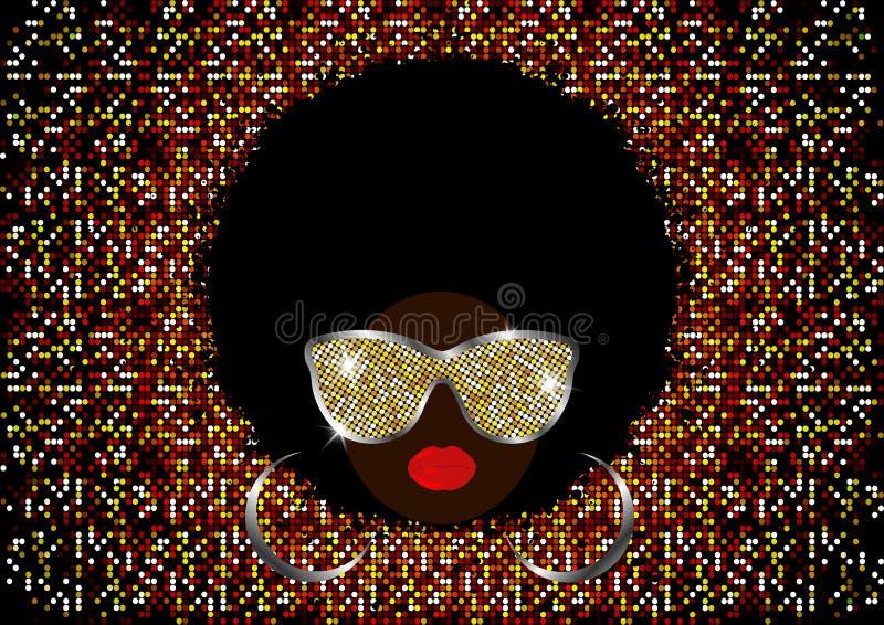 Donne africane del ritratto, fronte femminile della pelle scura con l'afro dei capelli neri ed occhiali da sole brillanti del met illustrazione vettoriale