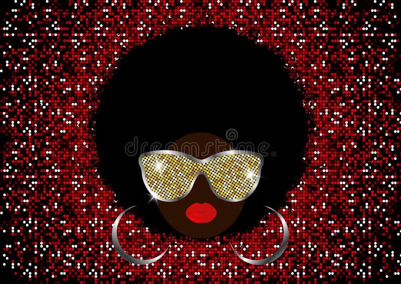 Donne africane del ritratto, fronte femminile della pelle scura con l'afro dei capelli neri ed occhiali da sole brillanti del met illustrazione di stock