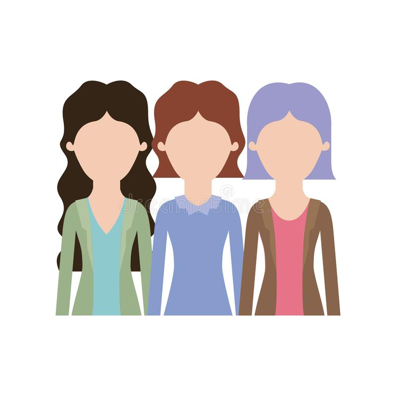 Donne anonime nel mezzo ente con l'abbigliamento casual ed i capelli di scarsità ed ondulati in siluetta variopinta illustrazione vettoriale