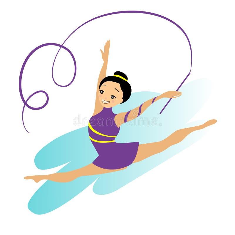 Donne Art Gymnastics Workout Exercise di sport illustrazione di stock