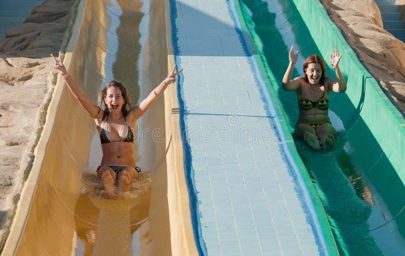 Donne in bikini sulla trasparenza di acqua della piscina fotografia stock