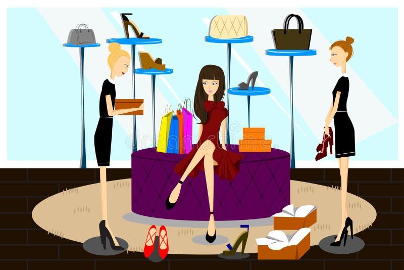 Donne che acquistano per i pattini royalty illustrazione gratis