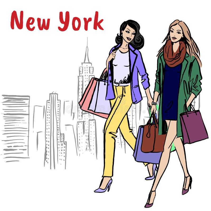 Donne che camminano a New York illustrazione vettoriale