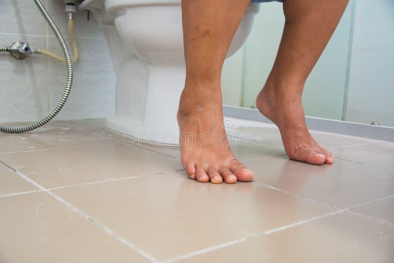 Donne che collocano sulla toilette immagini stock libere da diritti