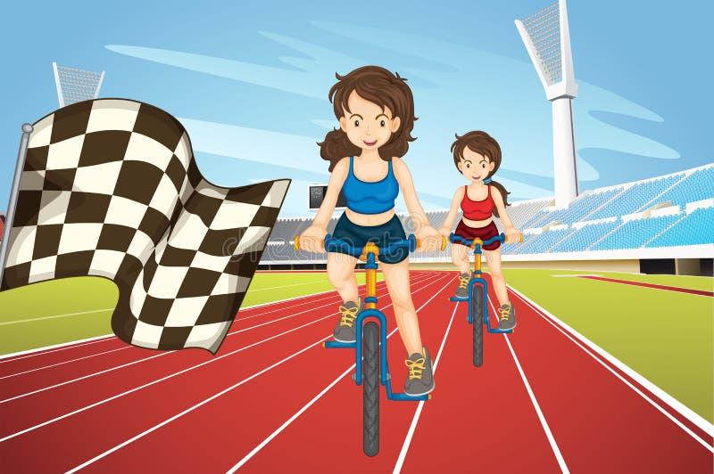 Donne che corrono bici nel campo royalty illustrazione gratis
