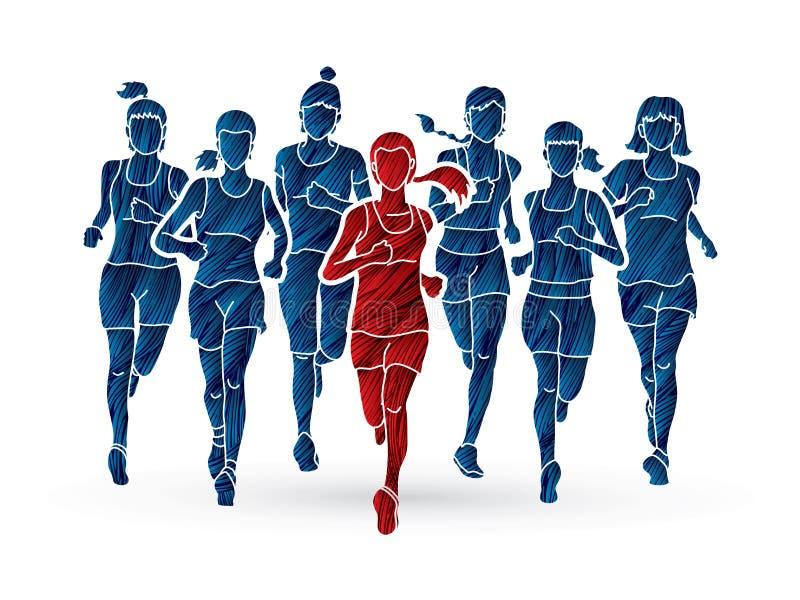 Donne che corrono, corridori maratona, gruppo di persone correre royalty illustrazione gratis