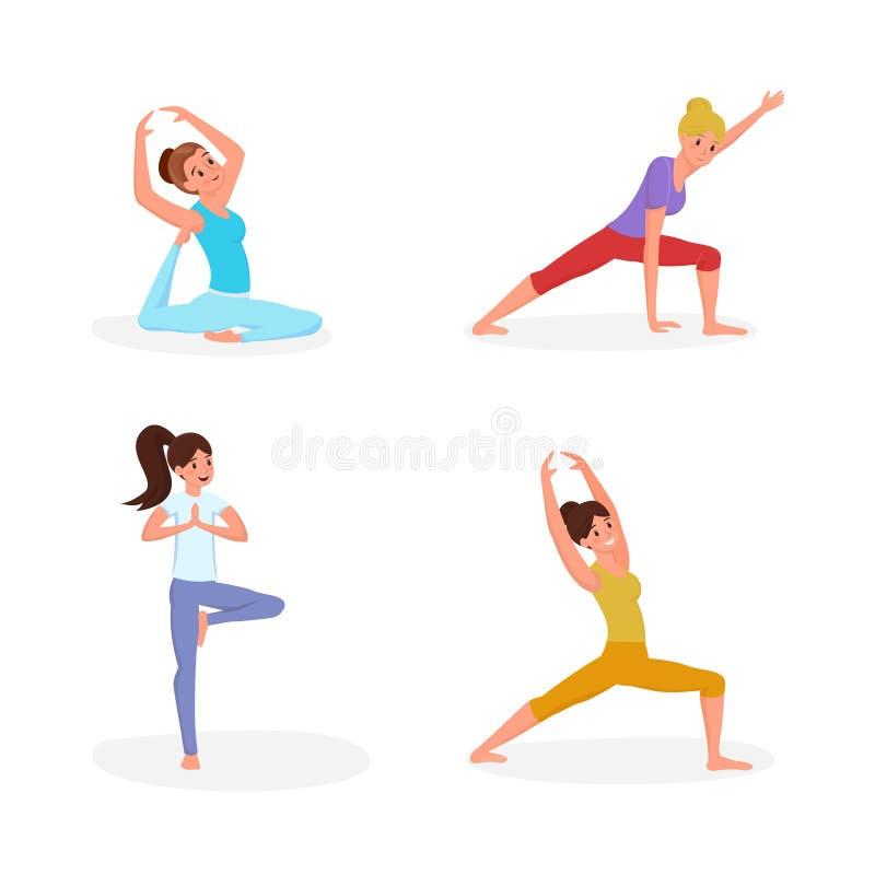 Donne che fanno l'insieme piano dell'illustrazione di vettore di yoga Ragazze nei personaggi dei cartoni animati di allungamento  royalty illustrazione gratis