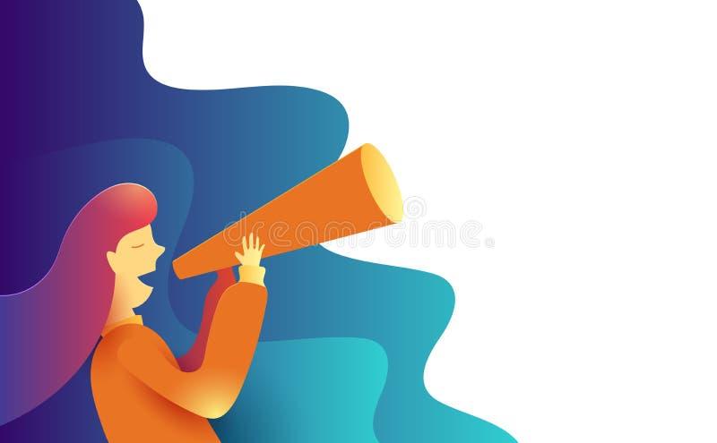 Donne che fanno un certo annuncio in una tromba di carta Concetto di vendita di promo della pubblicità Illustrazione di vettore illustrazione vettoriale