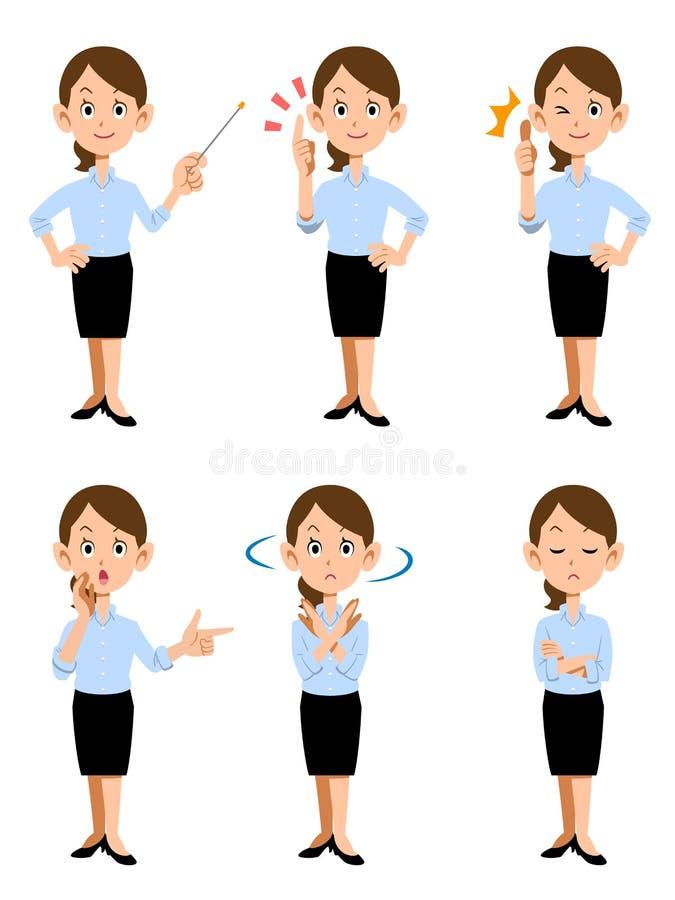 Donne che lavorano nell'ufficio di estate, in 6 gesti differenti e nel facial illustrazione vettoriale