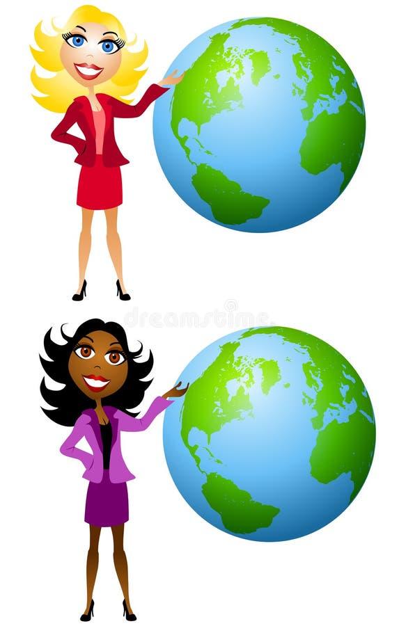 Donne che presentano la terra illustrazione vettoriale
