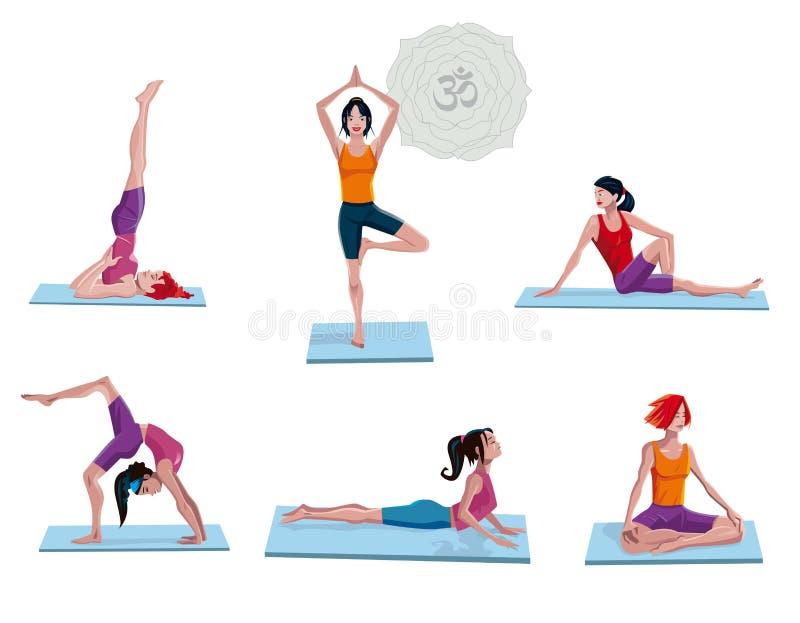 Donne che si esercitano in yoga illustrazione vettoriale