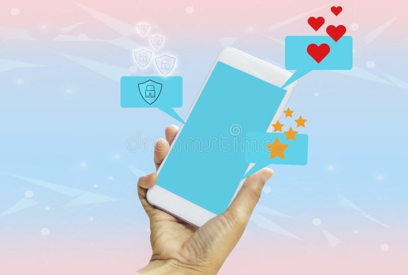Donne che tengono smartphone in mani con lo schermo blu su fondo pastello blu-rosa luminoso Con il concetto di tecnologia e illustrazione vettoriale