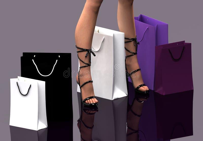 Donne con i sacchetti di acquisto royalty illustrazione gratis