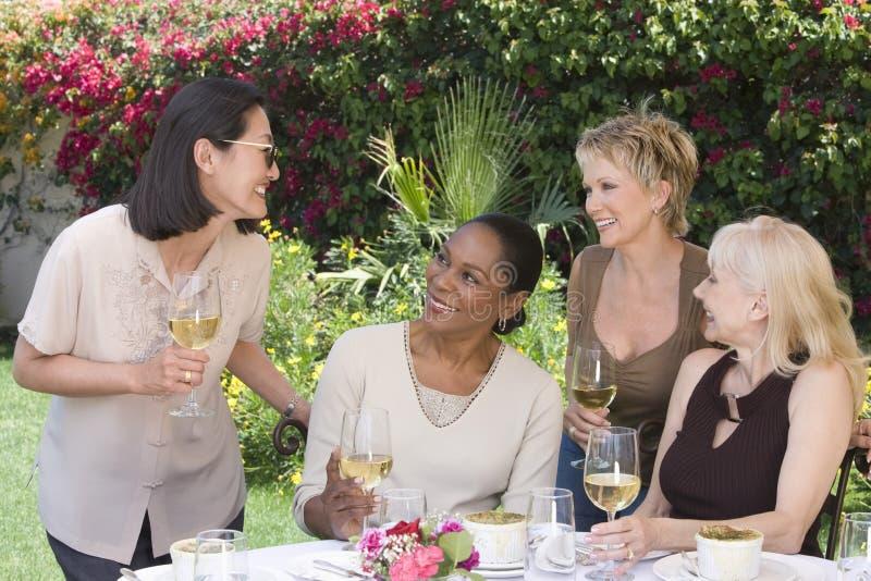 Donne con i vetri di vino che chiacchierano al ricevimento all'aperto fotografia stock libera da diritti