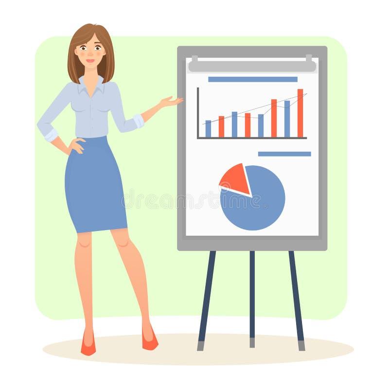Donne con il grafico illustrazione vettoriale