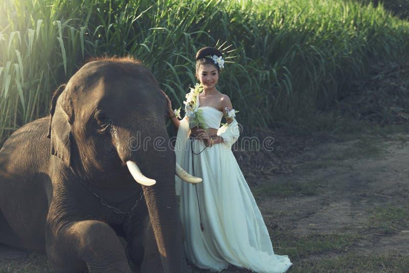 Donne con l'elefante fotografia stock