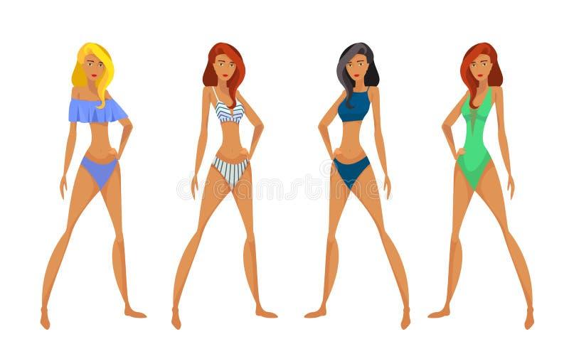 Donne in costume da bagno illustrazione vettoriale. Illustrazione di ...