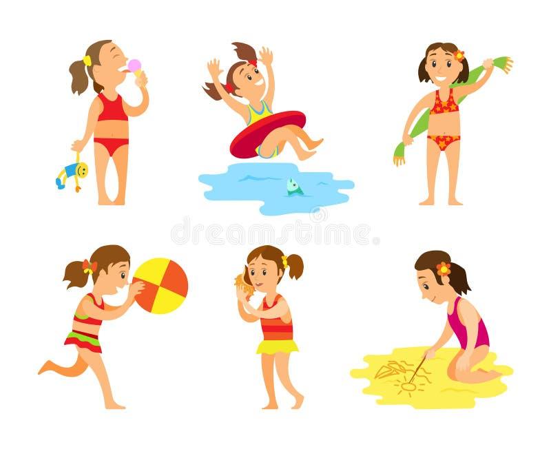 Donne in costume da bagno, attività di estate sul vettore della spiaggia illustrazione di stock
