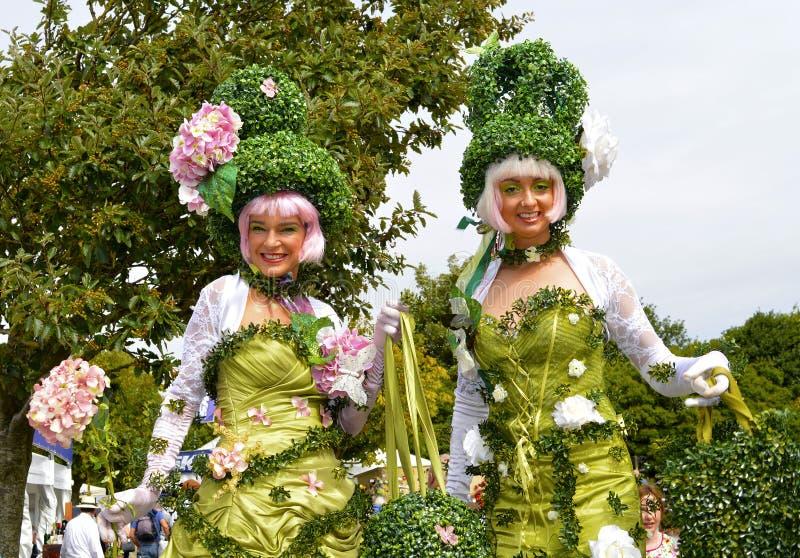 Donne in costumi di fiori immagini stock