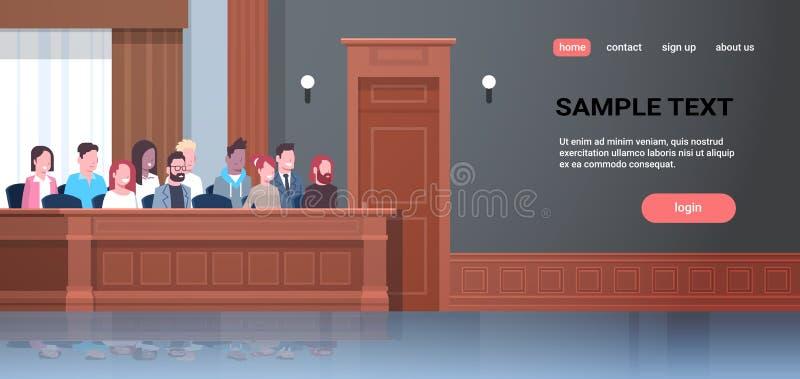 Donne degli uomini che si siedono la gente della corsa della miscela di sessione di prova di corte della scatola di giuria nel gi illustrazione di stock