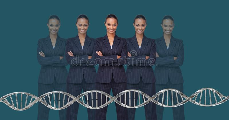 Donne del clone con DNA genetico immagine stock