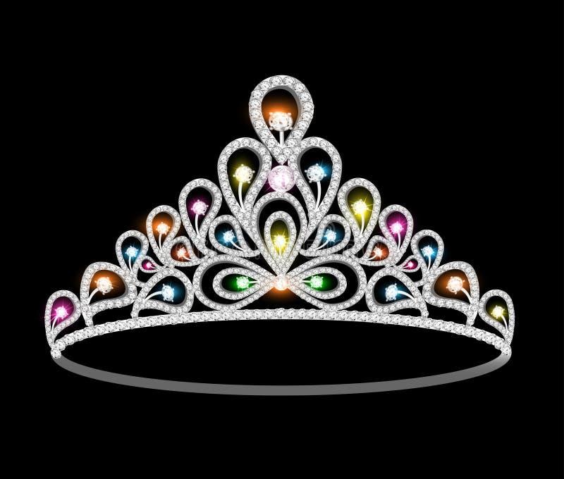 Donne del diadema della corona con le pietre preziose brillanti royalty illustrazione gratis