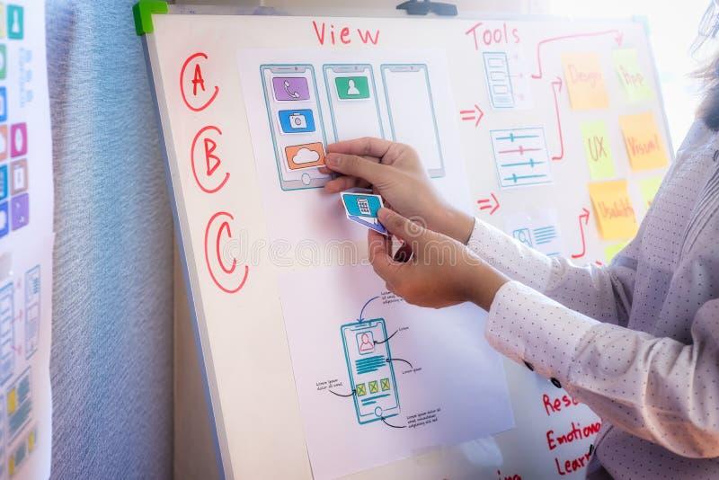 Donne del progettista della disposizione di progettazione del modello del disegno di schizzo e del sito Web per l'applicazione ch immagini stock libere da diritti