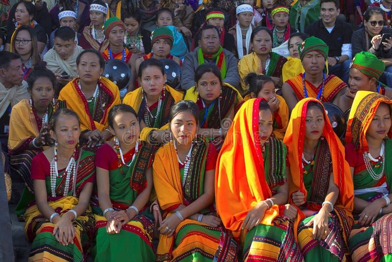 Donne della tribù di Kachari al festival di Horbnill, Kisama immagini stock libere da diritti