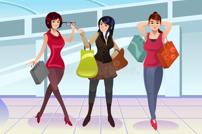 Donne di acquisto al centro commerciale illustrazione di stock