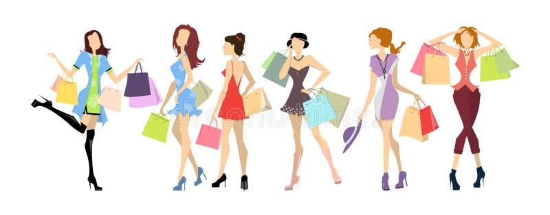 Donne di acquisto messe illustrazione di stock