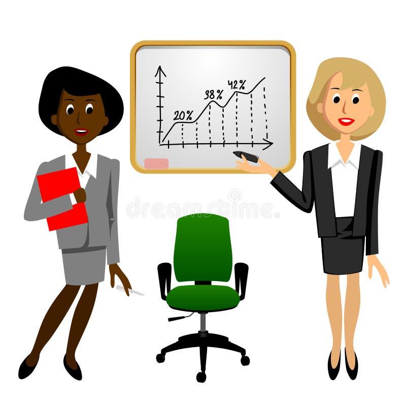 Donne di affari in bianco e nero in ufficio vicino al grafico di crescita sopra illustrazione di stock