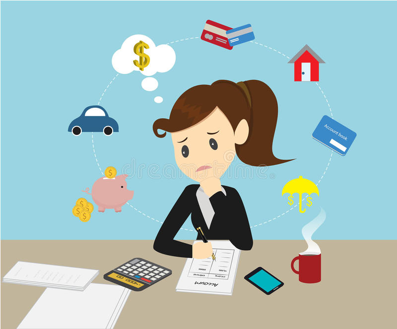 Donne di affari che dirigono le finanze della famiglia di conto per reddito ed ex illustrazione di stock
