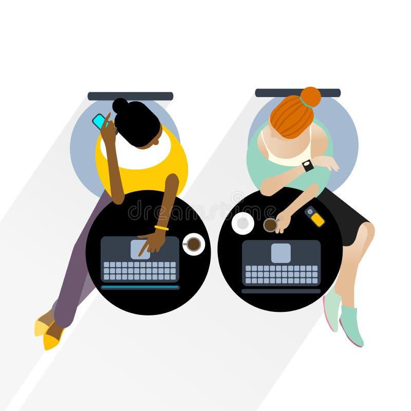 Donne di affari con i computer portatili illustrazione vettoriale
