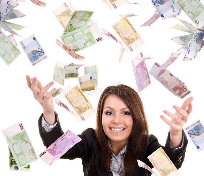 Donne di affari con i soldi di volo. immagine stock libera da diritti
