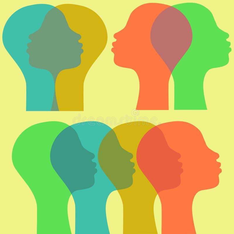 Donne di Afro nel profilo illustrazione vettoriale
