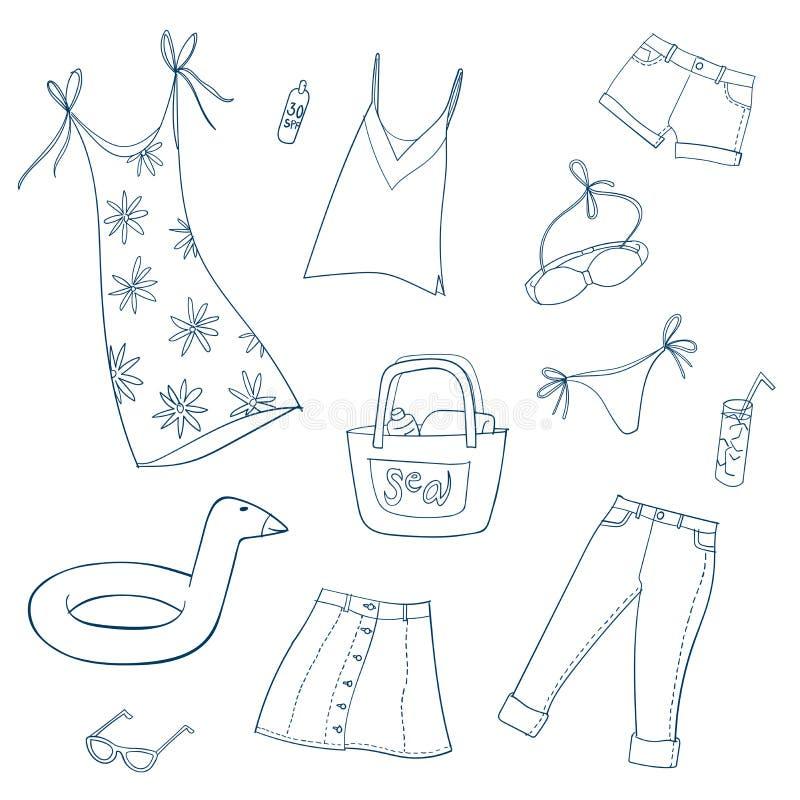 Donne di estate e vestiti delle ragazze Insieme delle illustrazioni di vettore royalty illustrazione gratis