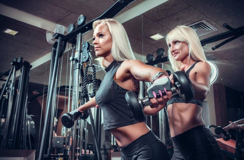Donne di forma fisica che fanno gli esercizi con la testa di legno nella palestra fotografia stock libera da diritti