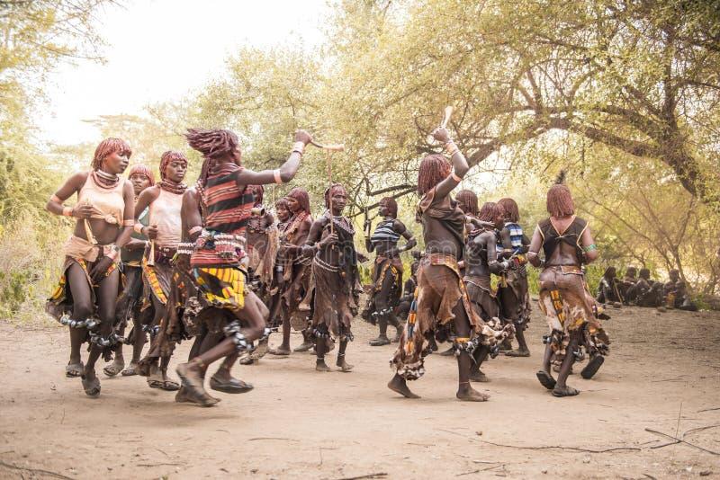 Donne di Hamer che ballano durante la cerimonia di salto del toro fotografia stock libera da diritti