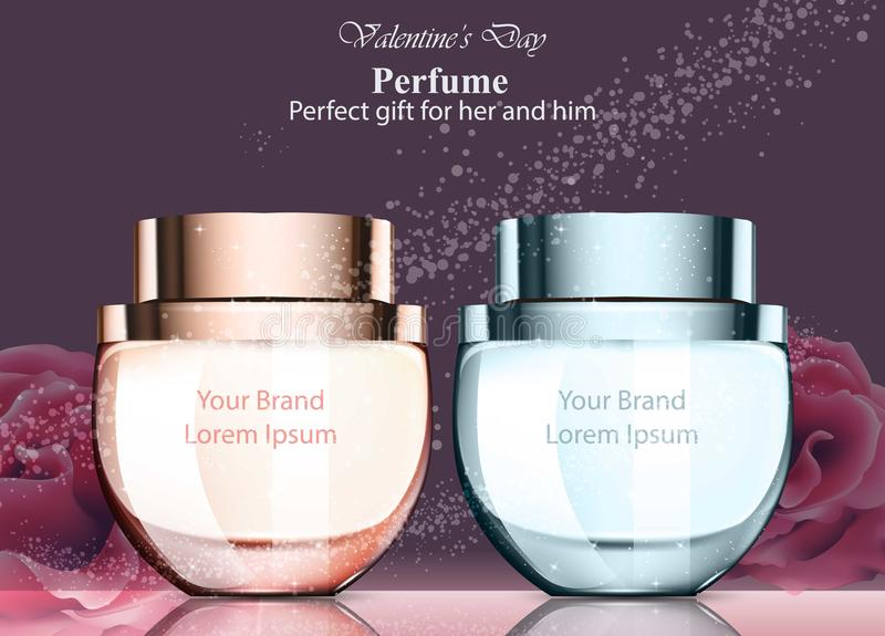Donne e fragranza della bottiglia di profumo degli uomini La derisione realistica di progettazioni di imballaggio del prodotto ve illustrazione di stock