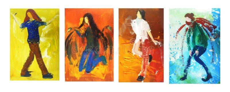Donne e giovani ed eleganza e paiting illustrazione di stock