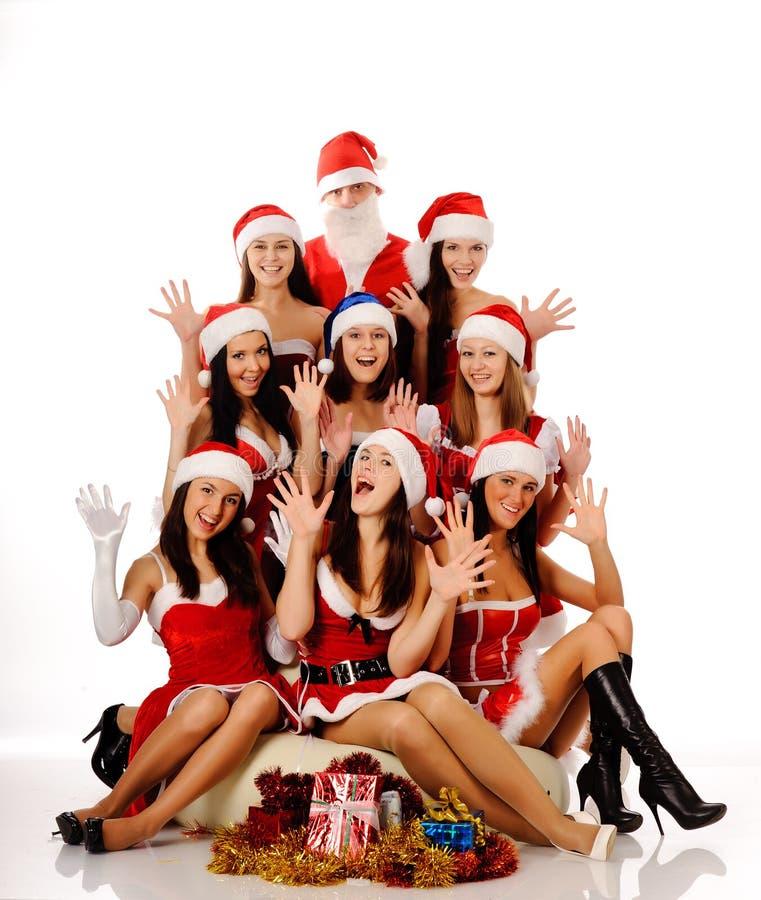 Immagini Natale Donne.Donne Ed Il Babbo Natale Di Grido Fotografia Stock
