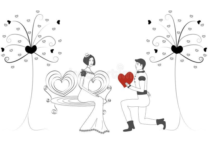 Donne ed uomini nell'amore royalty illustrazione gratis